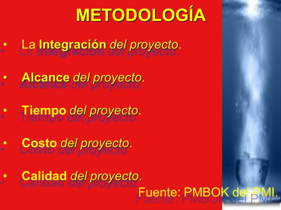METODOLOGÍA La Integración del proyecto. Alcance del proyecto.