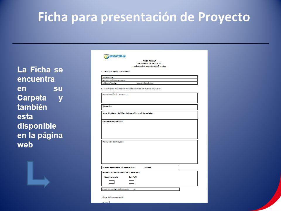 Ficha para presentación de Proyecto