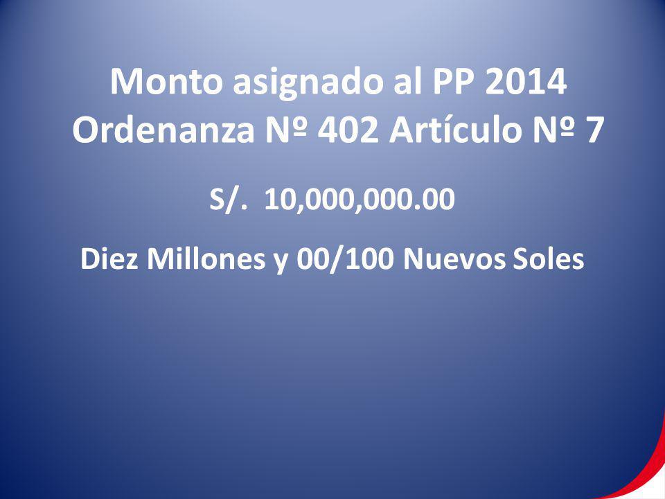 Ordenanza Nº 402 Artículo Nº 7 Diez Millones y 00/100 Nuevos Soles