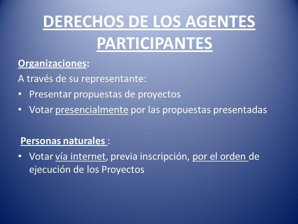 DERECHOS DE LOS AGENTES PARTICIPANTES