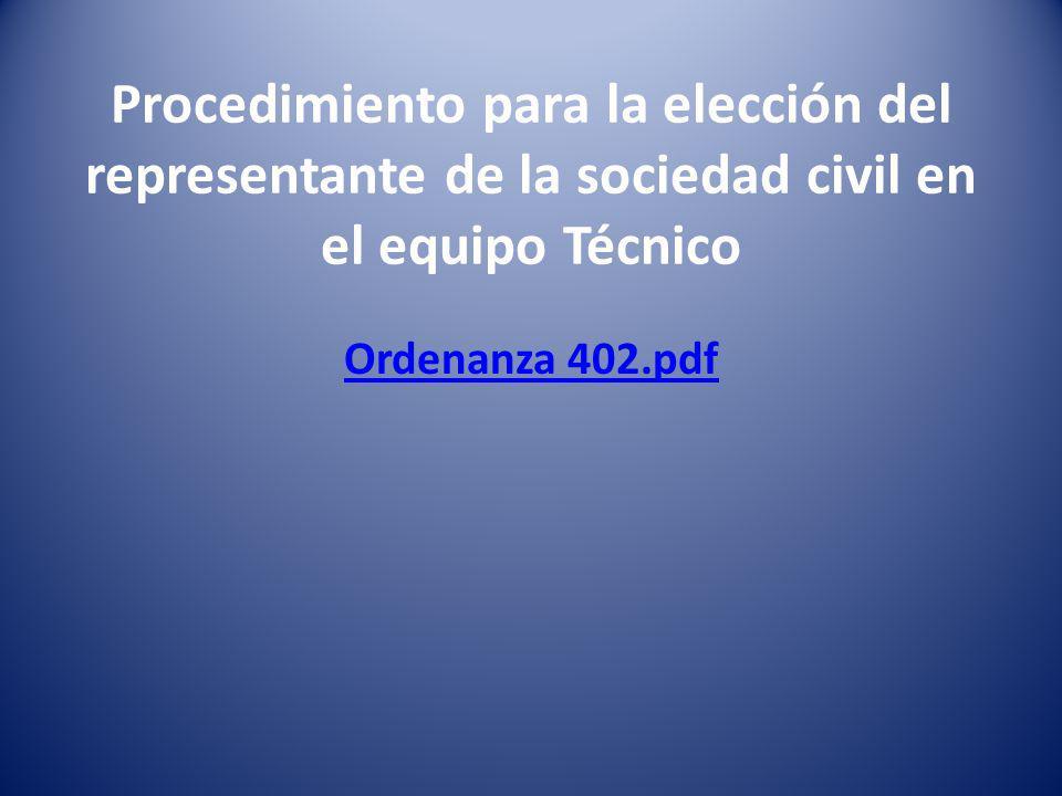 Procedimiento para la elección del representante de la sociedad civil en el equipo Técnico