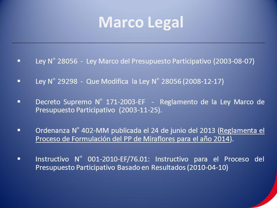 Marco Legal Ley N° 28056 - Ley Marco del Presupuesto Participativo (2003-08-07) Ley N° 29298 - Que Modifica la Ley N° 28056 (2008-12-17)