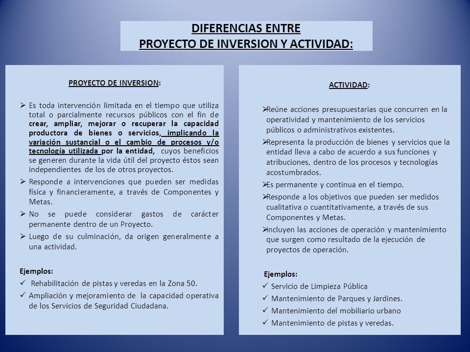 DIFERENCIAS ENTRE PROYECTO DE INVERSION Y ACTIVIDAD: