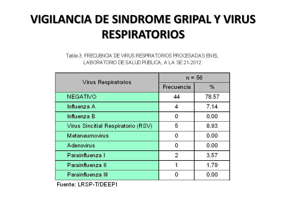 VIGILANCIA DE SINDROME GRIPAL Y VIRUS RESPIRATORIOS