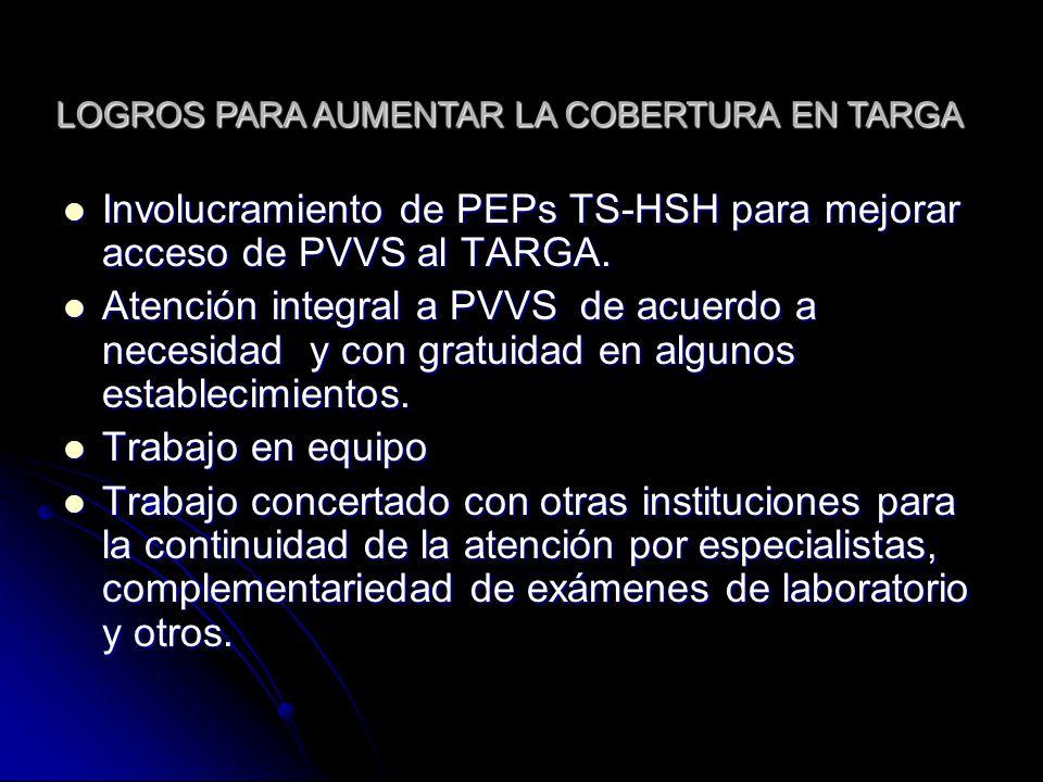 Involucramiento de PEPs TS-HSH para mejorar acceso de PVVS al TARGA.