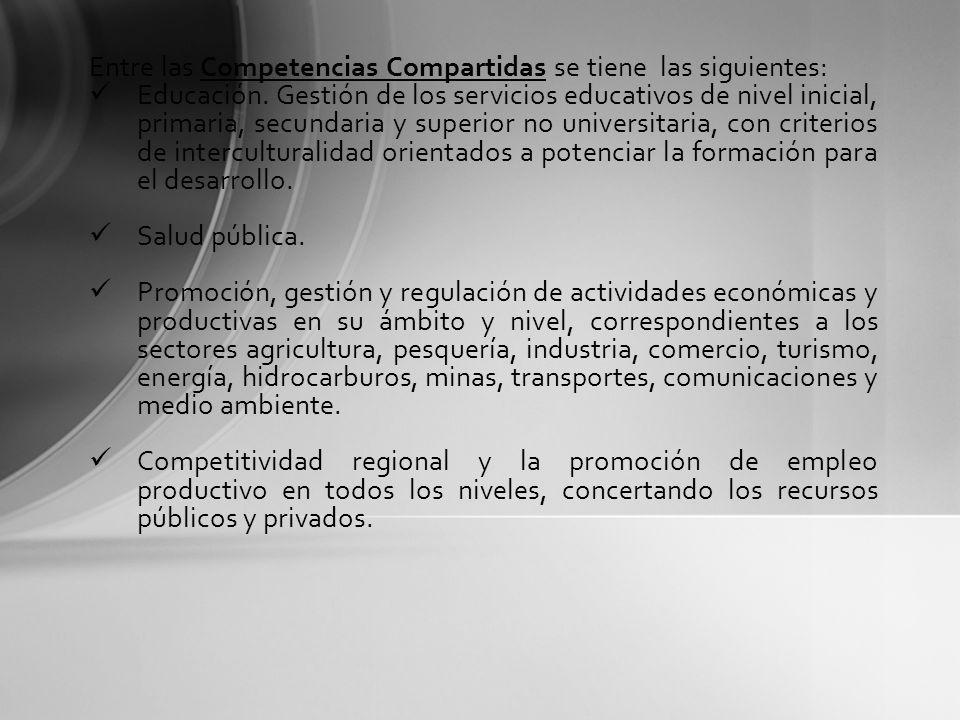 Entre las Competencias Compartidas se tiene las siguientes:
