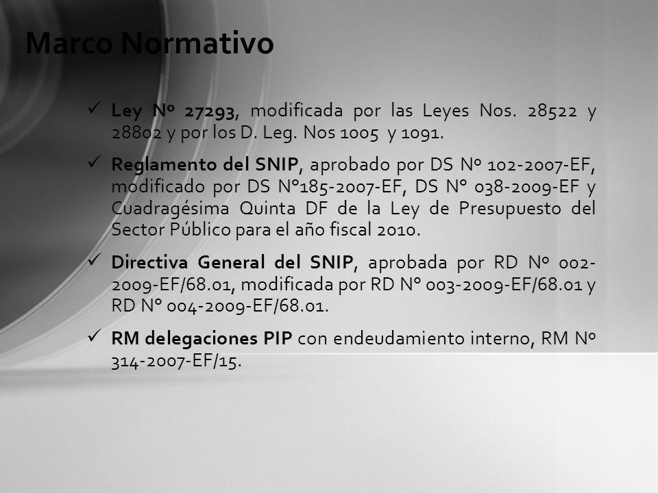 Marco Normativo Ley Nº 27293, modificada por las Leyes Nos. 28522 y 28802 y por los D. Leg. Nos 1005 y 1091.