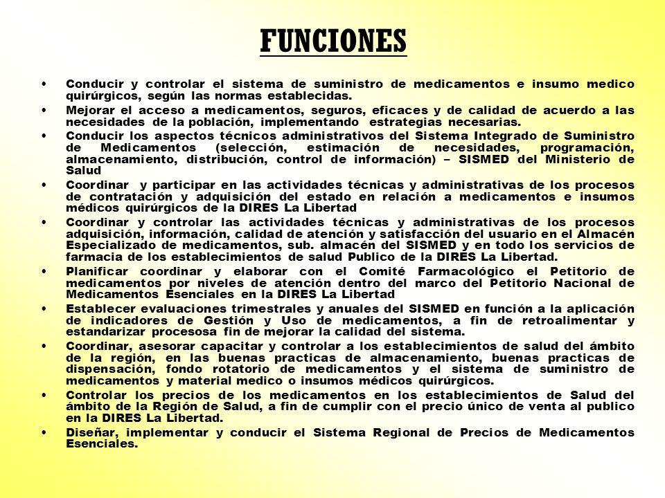 FUNCIONES Conducir y controlar el sistema de suministro de medicamentos e insumo medico quirúrgicos, según las normas establecidas.