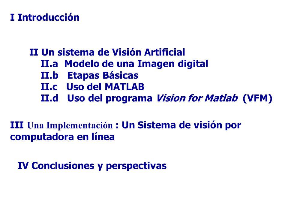 I Introducción II Un sistema de Visión Artificial. II.a Modelo de una Imagen digital. II.b Etapas Básicas.