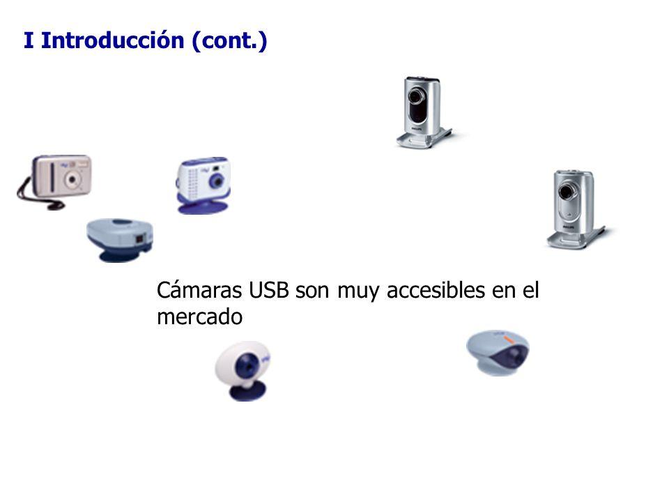 I Introducción (cont.) Cámaras USB son muy accesibles en el mercado