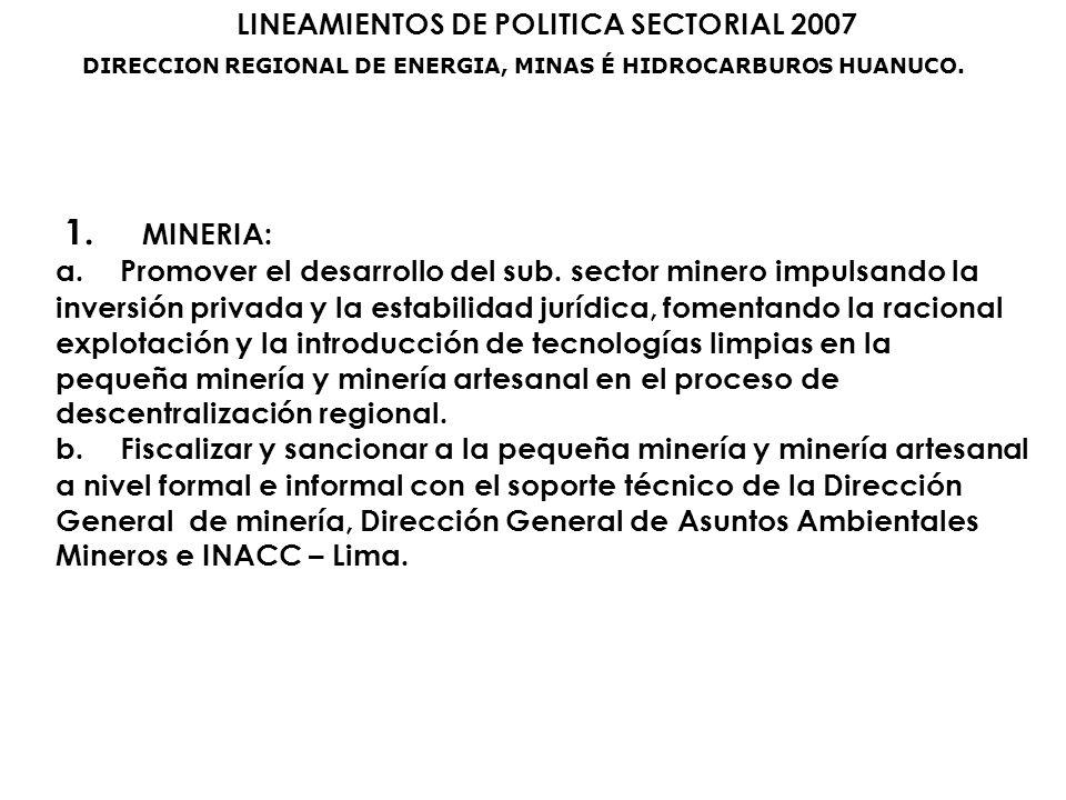 LINEAMIENTOS DE POLITICA SECTORIAL 2007