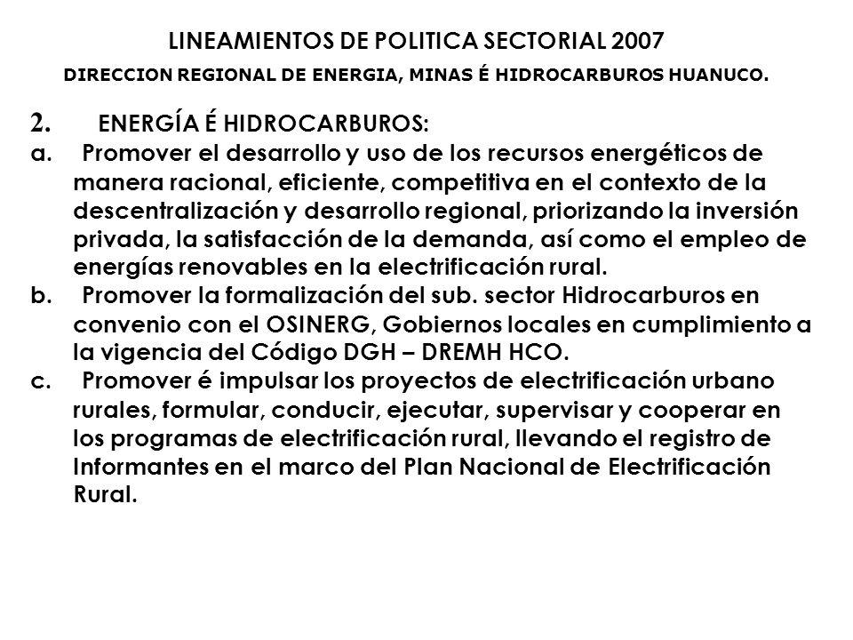 DIRECCION REGIONAL DE ENERGIA, MINAS É HIDROCARBUROS HUANUCO.