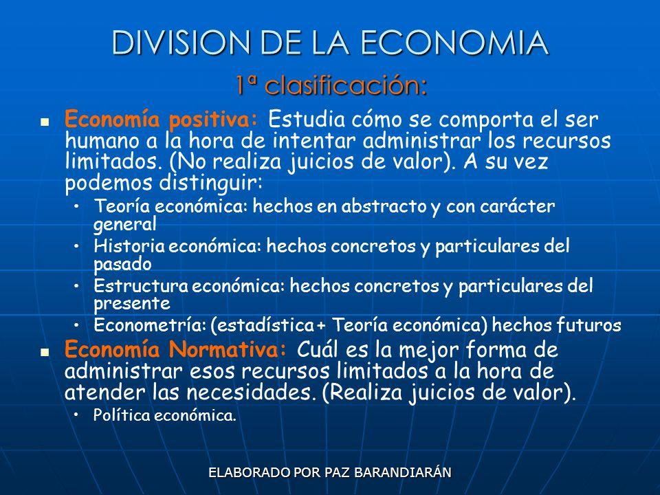 DIVISION DE LA ECONOMIA 1ª clasificación: