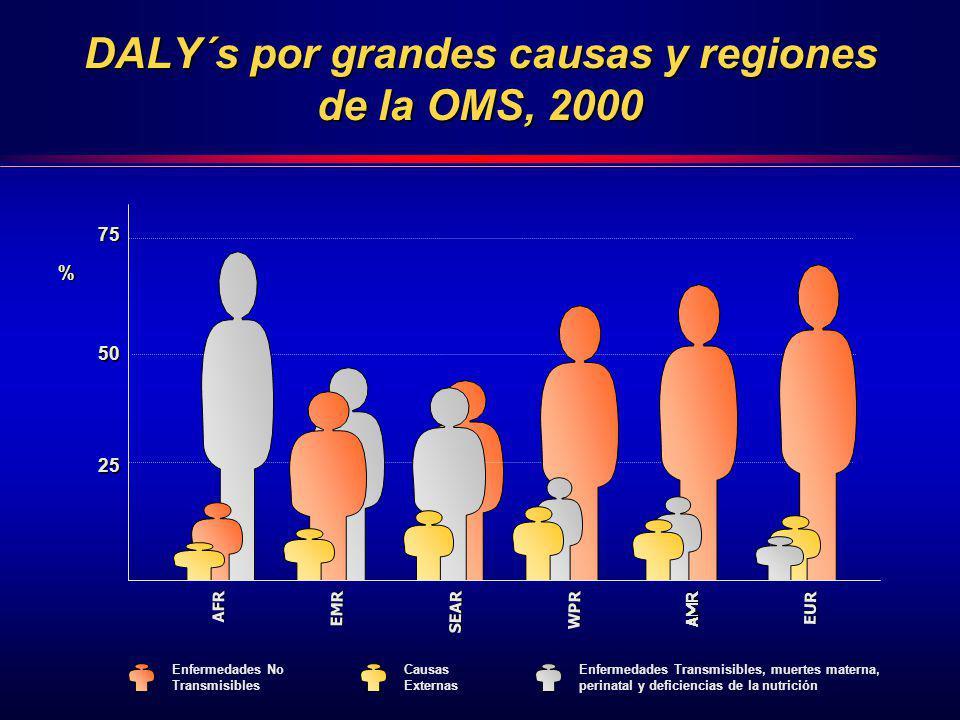 DALY´s por grandes causas y regiones de la OMS, 2000