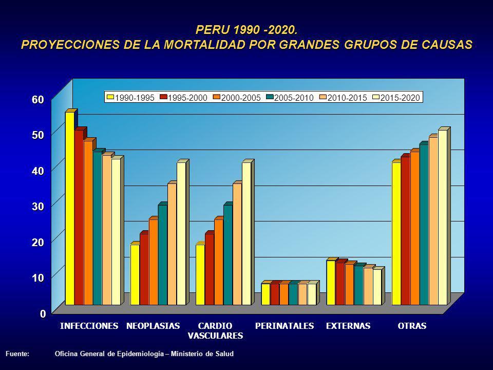 PERU 1990 -2020. PROYECCIONES DE LA MORTALIDAD POR GRANDES GRUPOS DE CAUSAS