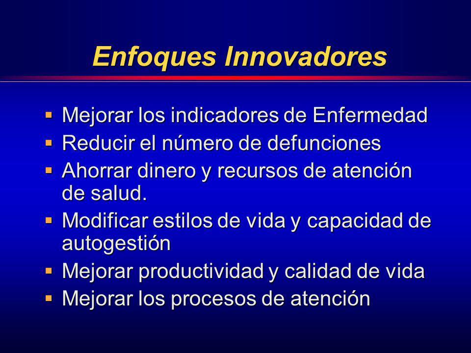 Enfoques Innovadores Mejorar los indicadores de Enfermedad