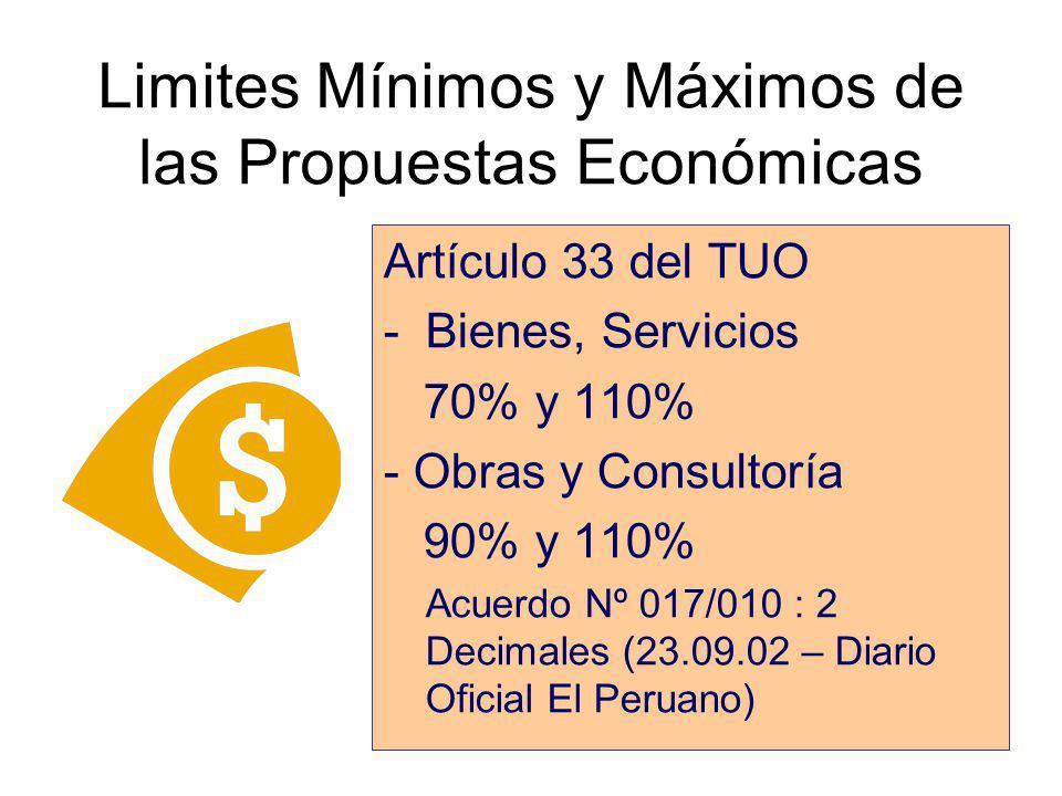 Limites Mínimos y Máximos de las Propuestas Económicas