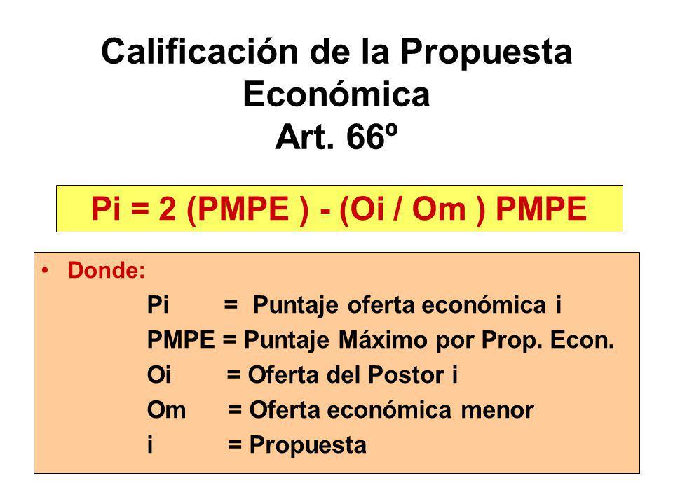 Calificación de la Propuesta Económica Art. 66º