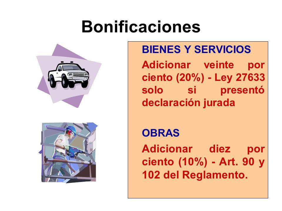 Bonificaciones BIENES Y SERVICIOS. Adicionar veinte por ciento (20%) - Ley 27633 solo si presentó declaración jurada.