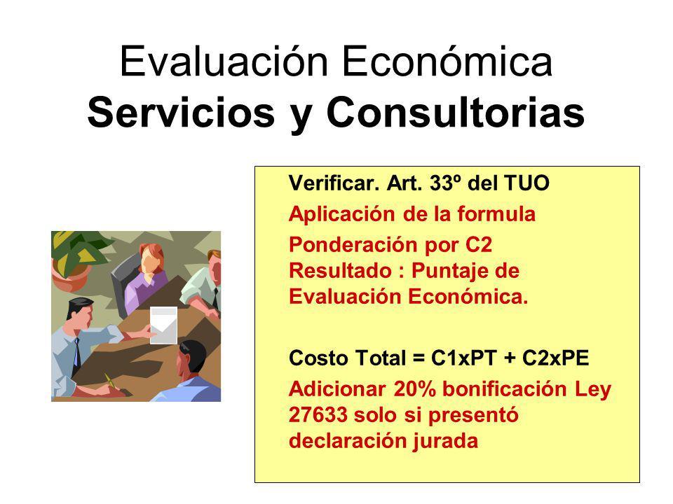 Evaluación Económica Servicios y Consultorias