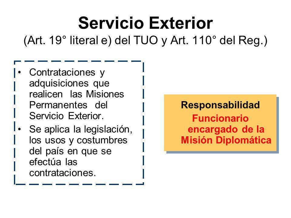 Servicio Exterior (Art. 19° literal e) del TUO y Art. 110° del Reg.)