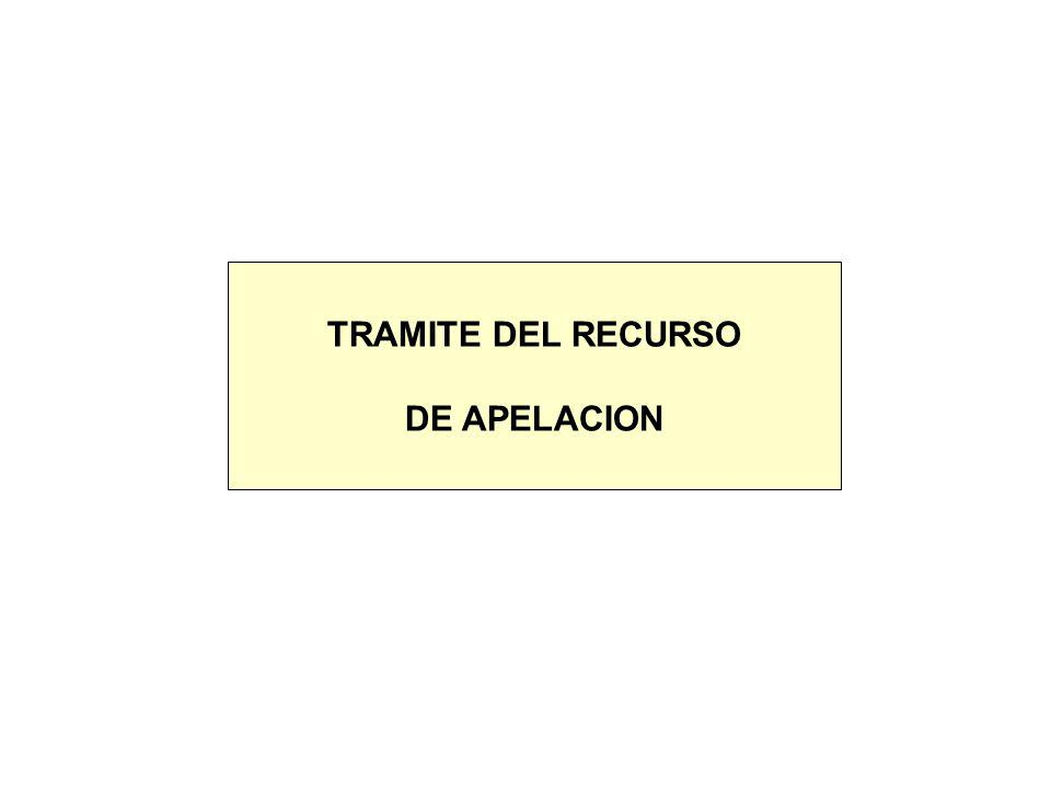 TRAMITE DEL RECURSO DE APELACION
