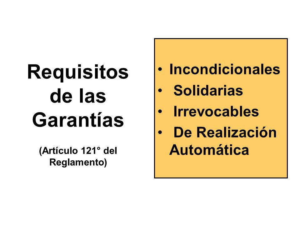Requisitos de las Garantías (Artículo 121° del Reglamento)