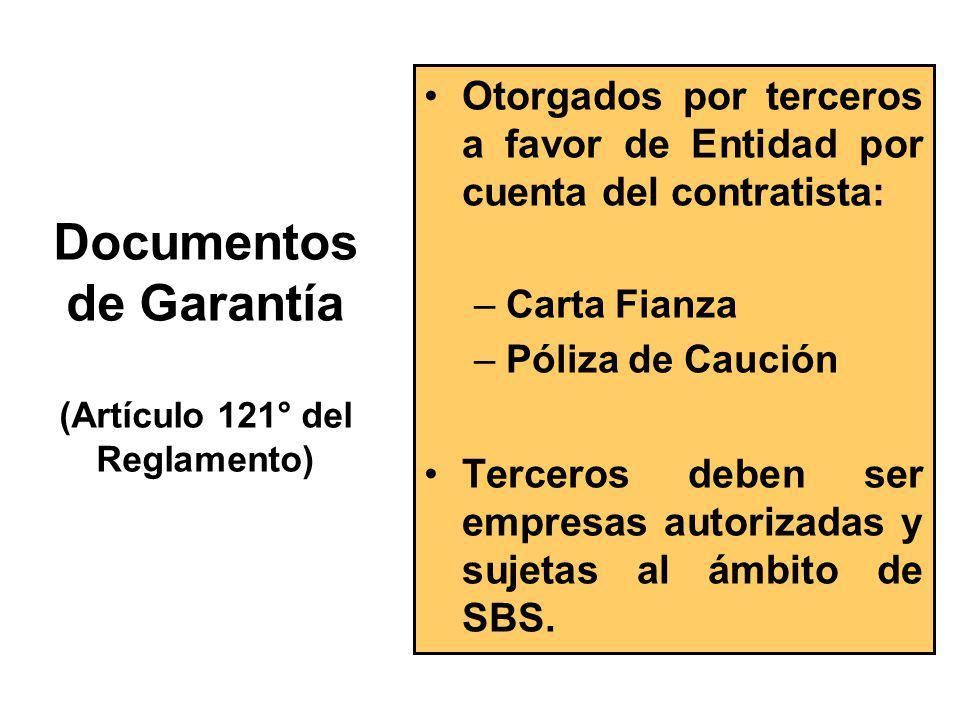 Documentos de Garantía (Artículo 121° del Reglamento)