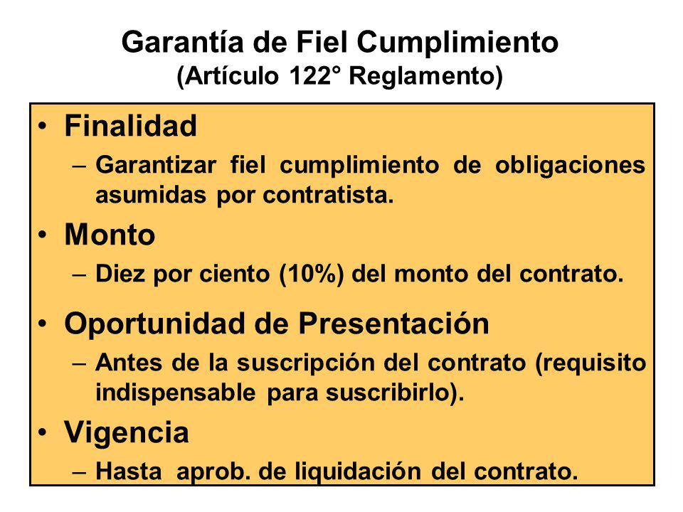 Garantía de Fiel Cumplimiento (Artículo 122° Reglamento)