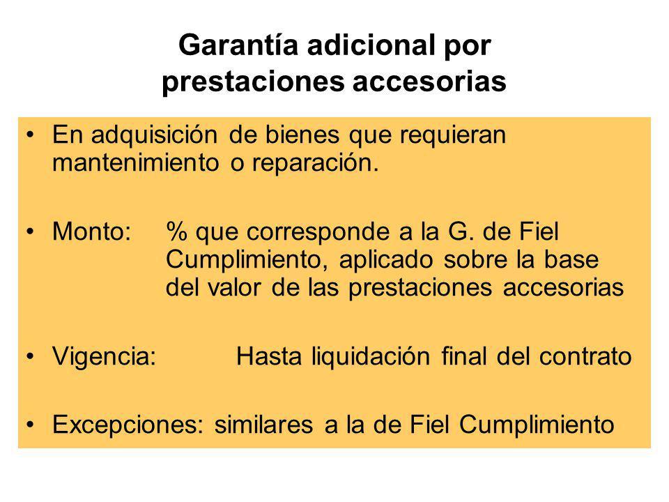 Garantía adicional por prestaciones accesorias