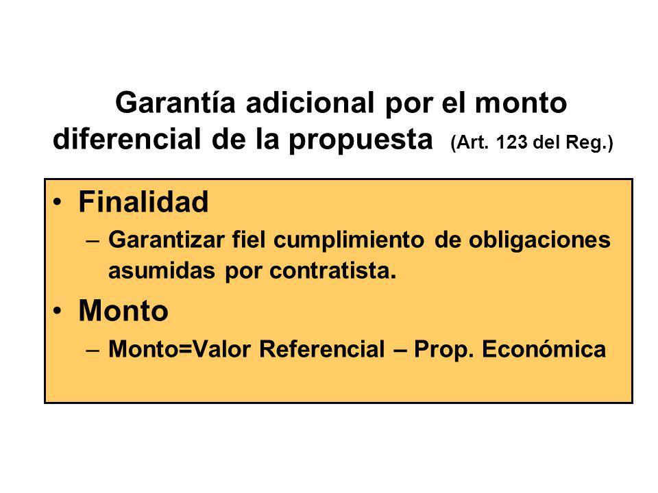 Garantía adicional por el monto diferencial de la propuesta (Art