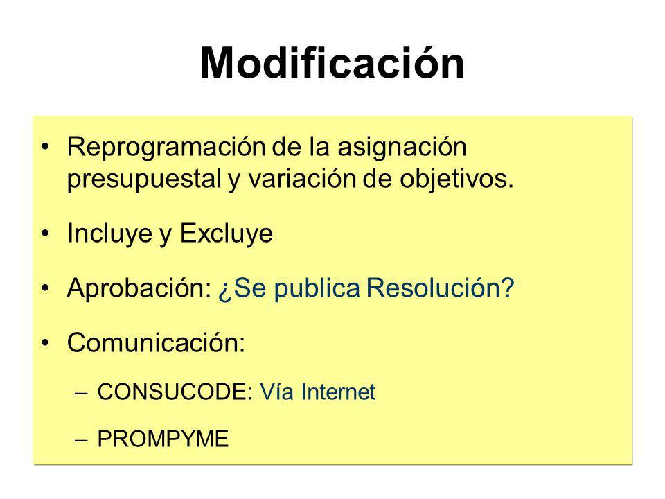 Modificación Reprogramación de la asignación presupuestal y variación de objetivos. Incluye y Excluye.