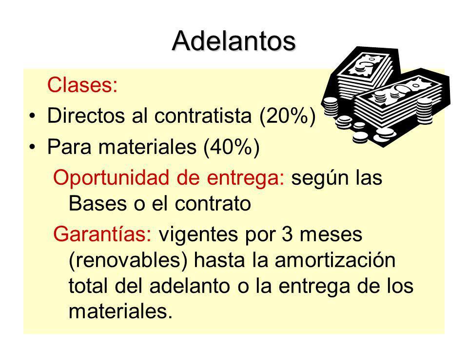 Adelantos Clases: Directos al contratista (20%) Para materiales (40%)