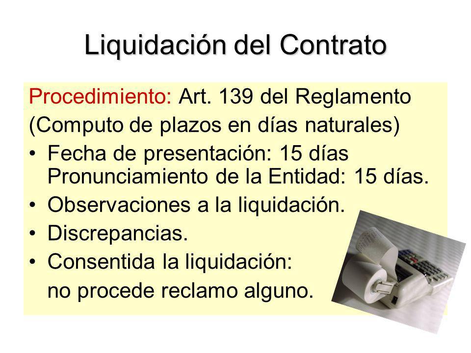 Liquidación del Contrato