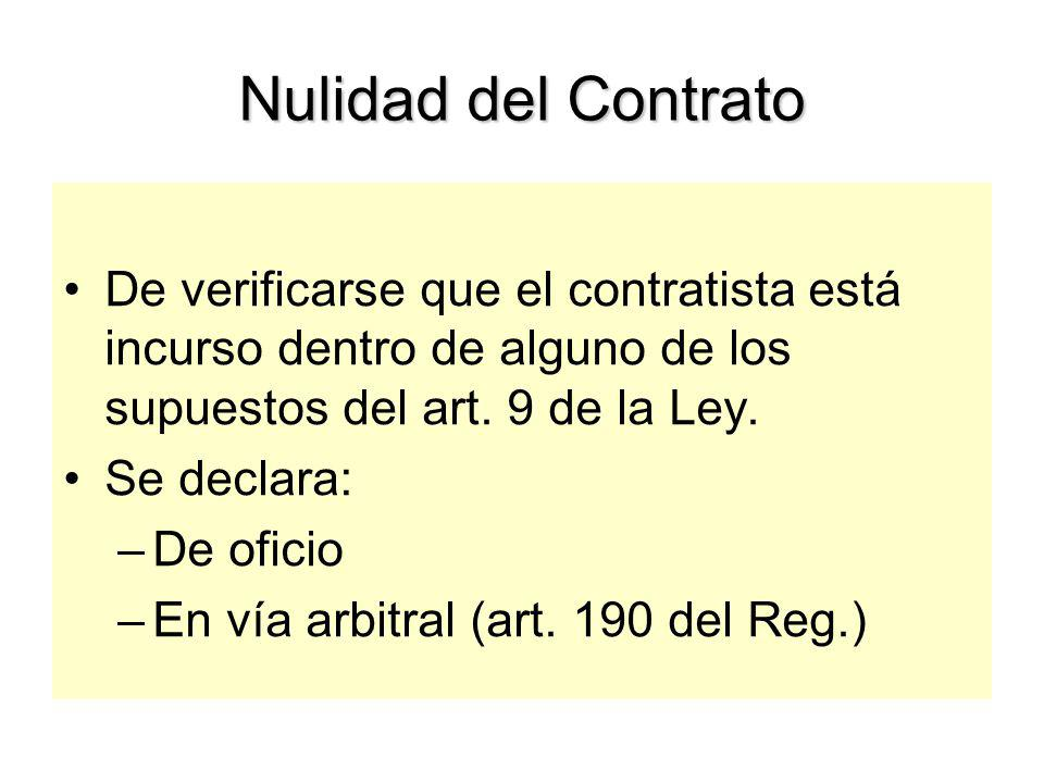 Nulidad del Contrato De verificarse que el contratista está incurso dentro de alguno de los supuestos del art. 9 de la Ley.