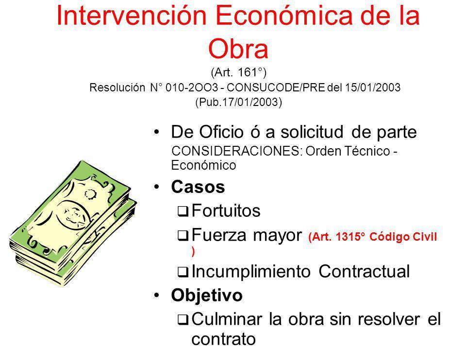 Intervención Económica de la Obra (Art