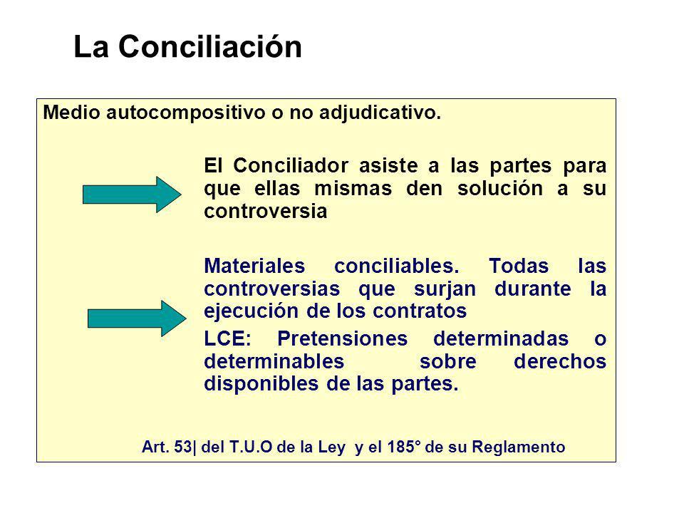 La Conciliación Medio autocompositivo o no adjudicativo. El Conciliador asiste a las partes para que ellas mismas den solución a su controversia.