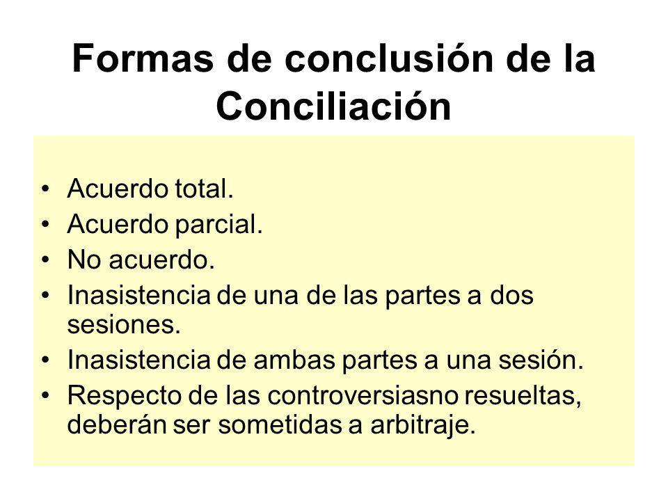 Formas de conclusión de la Conciliación