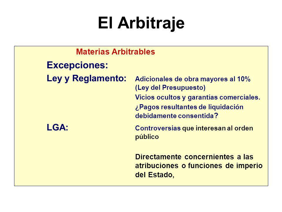 El Arbitraje Excepciones: