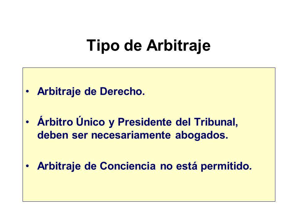 Tipo de Arbitraje Arbitraje de Derecho.