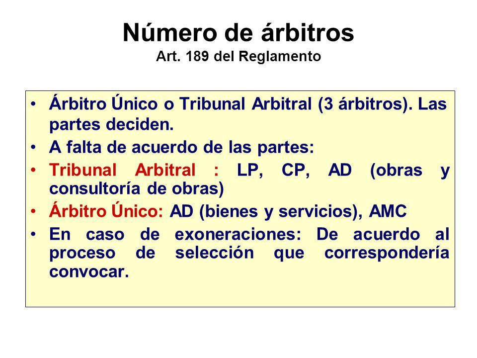 Número de árbitros Art. 189 del Reglamento