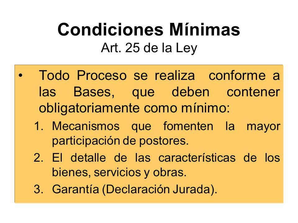 Condiciones Mínimas Art. 25 de la Ley
