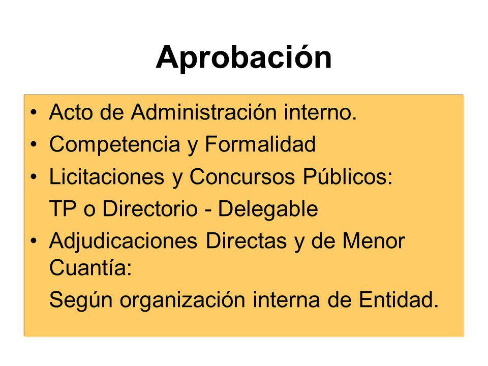Aprobación Acto de Administración interno. Competencia y Formalidad