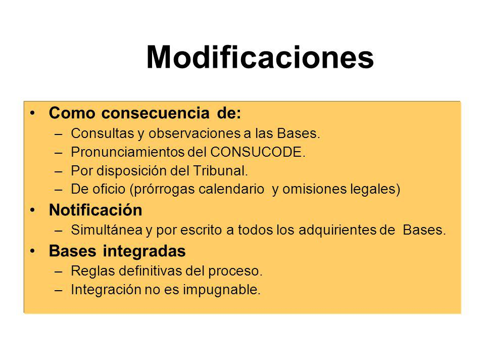 Modificaciones Como consecuencia de: Notificación Bases integradas
