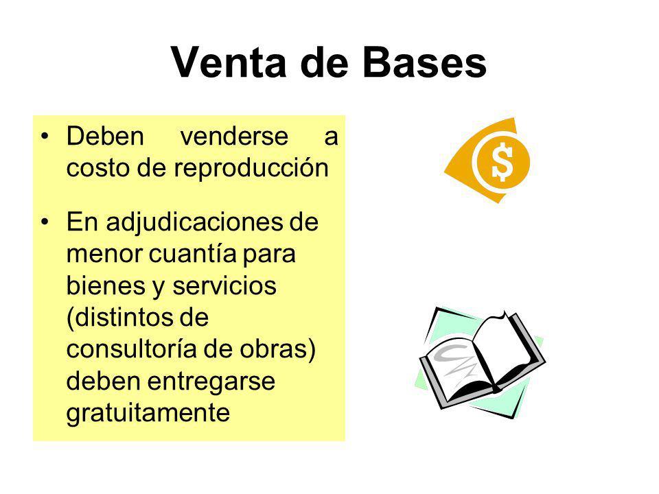 Venta de Bases Deben venderse a costo de reproducción