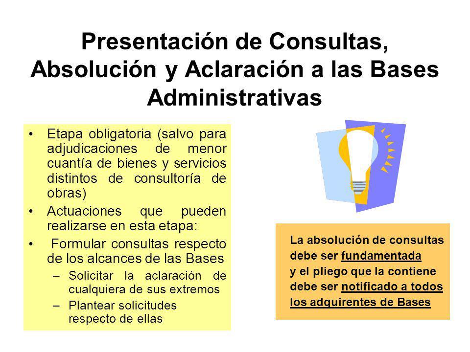 Presentación de Consultas, Absolución y Aclaración a las Bases Administrativas