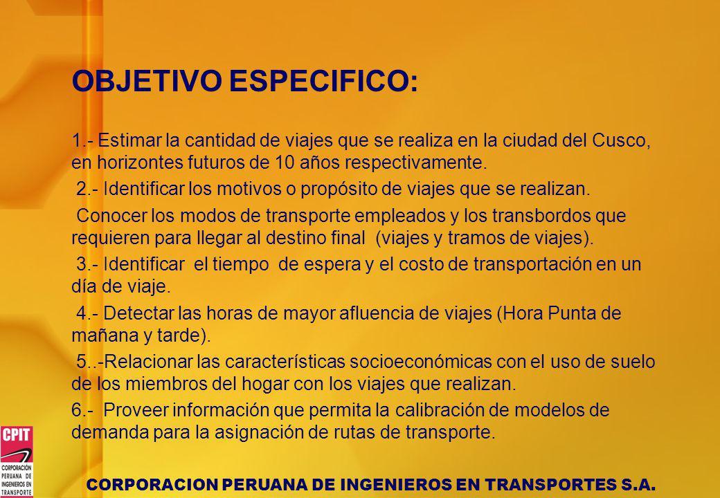 OBJETIVO ESPECIFICO: 1.- Estimar la cantidad de viajes que se realiza en la ciudad del Cusco, en horizontes futuros de 10 años respectivamente.