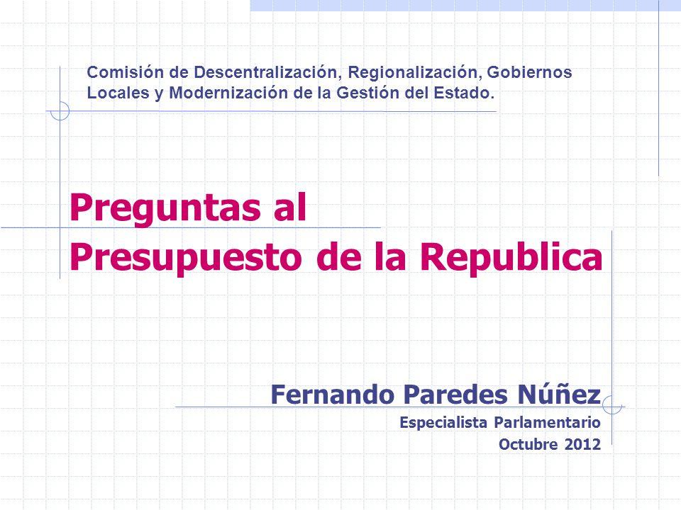 Preguntas al Presupuesto de la Republica