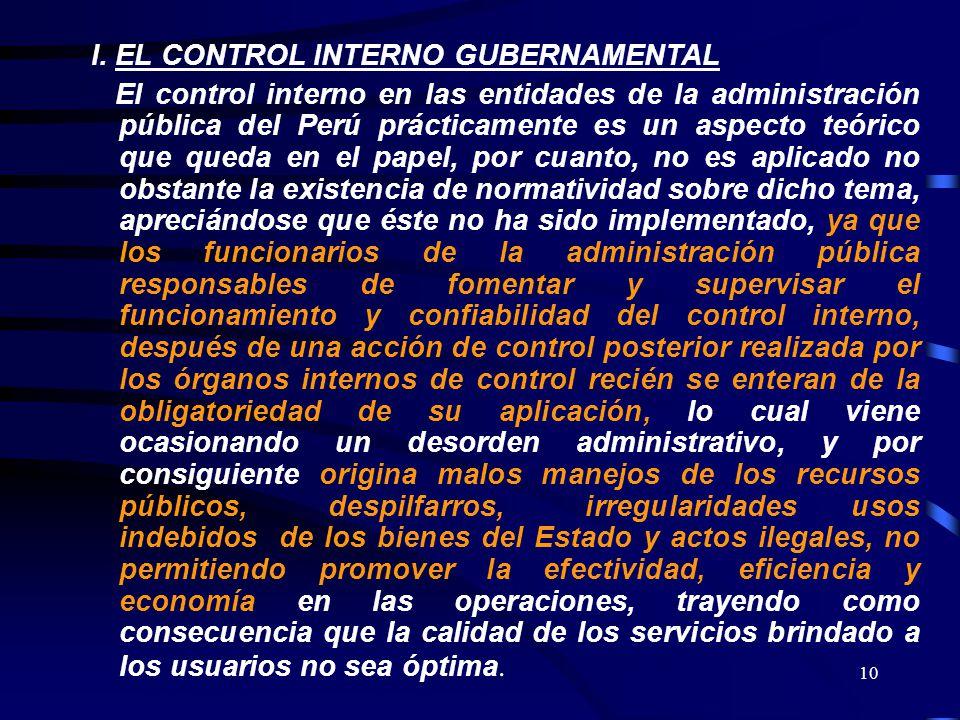 I. EL CONTROL INTERNO GUBERNAMENTAL