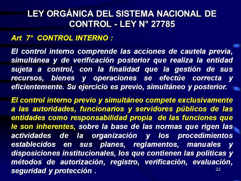LEY ORGÁNICA DEL SISTEMA NACIONAL DE CONTROL - LEY N° 27785